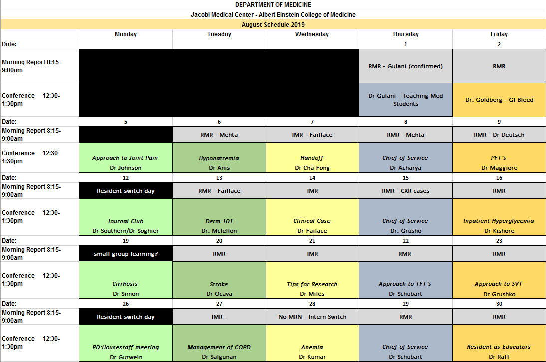 Conference Schedules – Jacobi Medical Center – Department of
